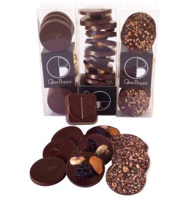 66-Pyrénées Orientales - 66000. Perpignan. Bajard. Ecole Internationale de Pâtisserie. Le Coffret de 3 Etuis d'assortiment de Snackin' au Chocolat noir.